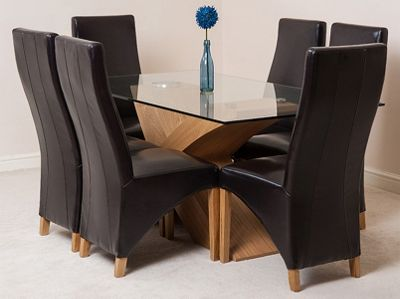 Valencia Glass & Oak 160 cm Dining Table with 6 Brown Lola Leather Chairs