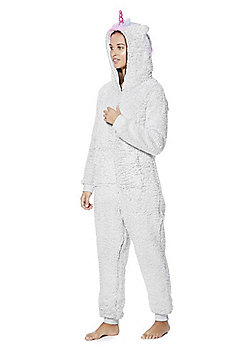 F&F Unicorn Fleece Onesie - Grey
