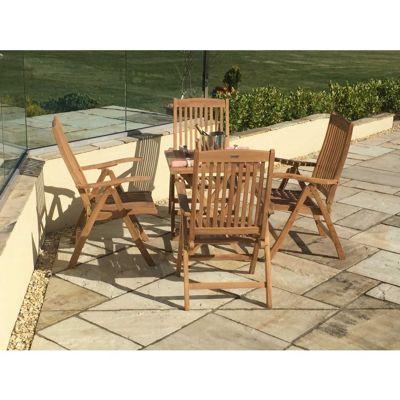 Teak Folding Table 70cm Square with four Harrogate Recliners