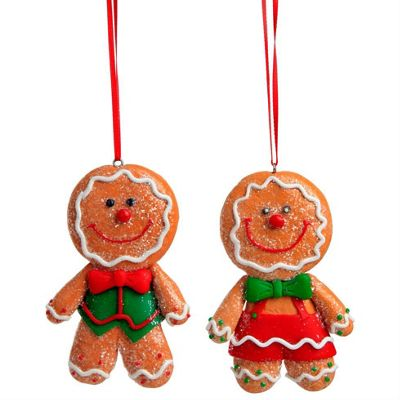 Pair of Glittery Claydough Gingerbread Men Christmas Tree Decorations