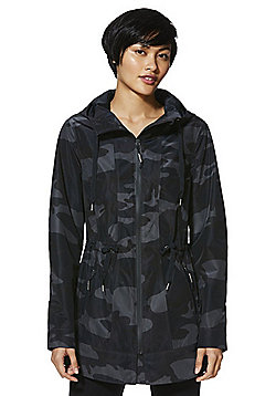 F&F Active Camo Print Waterproof Walking Jacket - Black & Green