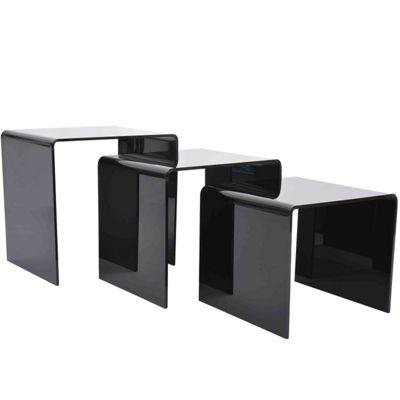 Buy homcom 3 pcs black acrylic perspex nesting tables from our homcom 3 pcs black acrylic perspex nesting tables watchthetrailerfo