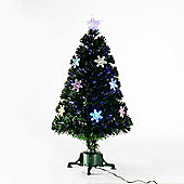 Homcom 3ft Green Fibre Optic Artificial Christmas Tree LED Light with Snowflakes Ornaments (3ft (90cm))