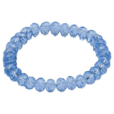 Sapphire Blue Glass Bead Stretch Bracelet