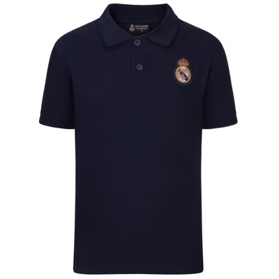 Real Madrid Mens Crest Polo Shirt Navy Large
