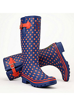 Evercreatures Ladies Multisun Wellies Navy with Orange Dots 6