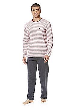F&F Striped Soft Touch Pyjamas - Burgundy/Grey/Cream