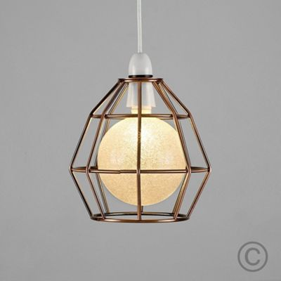 Modern Angus Open Cage LED Ceiling Pendant Shade Copper & Sparkle Globe Bulb