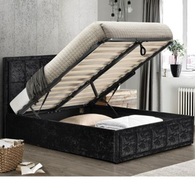 Happy Beds Hannover Crushed Velvet Fabric Ottoman Storage Bed with Open Coil Spring Mattress - Black - 4ft Small Double