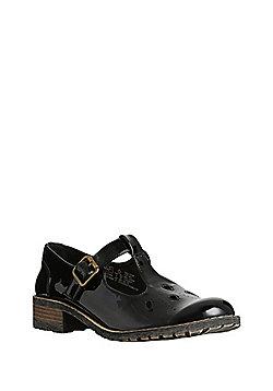 F&F All Day Comfort Patent T-Bar School Shoes - Black