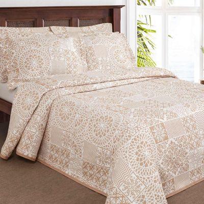 Homescapes Beige Mosaique Lace Floral Pattern Bedspread, Double