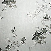 Superfresco Reed Metallic Floral Charcoal Wallpaper