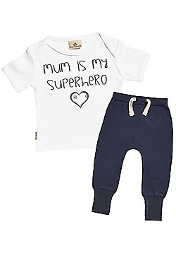 Mum Is My Superhero Baby T-Shirt & Navy Joggers Outfit Set - White