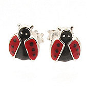 Open Wing Ladybird Silver Stud Earrings
