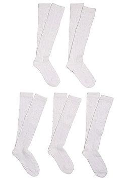 F&F 5 Pair Pack of Pelerine Knee High Socks - White