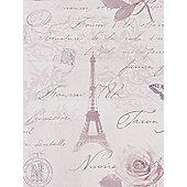 Calligraphy Paris Postcard Wallpaper - Heather - 97751