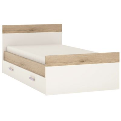 4KIDS Single bed with under drawer in light oak and white high gloss with lilac handles. Included slats