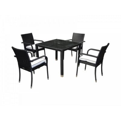 Roma 4 Chairs And Open Leg Square Table Set in Black and Vanilla