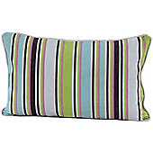 Homescapes Cotton Osaka Green Stripe Scatter Cushion, 30 x 50 cm