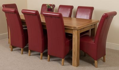 Richmond Solid Oak Extending 200 - 240 cm Dining Table with 8 Red Montana Leather Dining Chairs