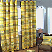 """Homescapes Cotton Morocco Striped Yellow Curtain Pair, 66 x 90"""" Drop"""