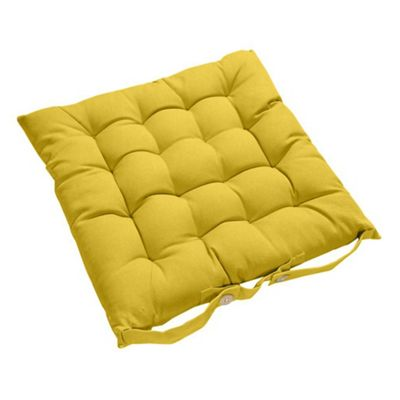 Homescapes Yellow Plain Seat Pad with Button Straps 100% Cotton 40 x 40 cm