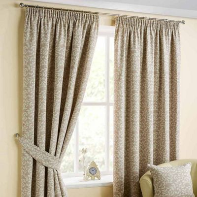 Homescapes Natural Ready Made Jacquard Curtain Pair Trailing Leaf 90x90