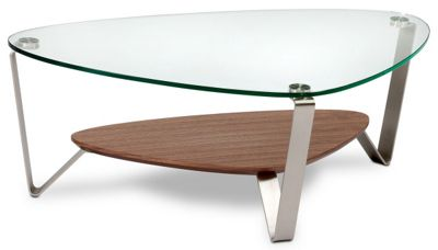 BDI Dino Natural Walnut Coffee Table with Clear Glass