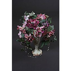 Artificial 45cm Purple Rose, Pink Rose, Mixed Foliage and Pearl Bead Display in an Ivory and Gold Ceramic Vase