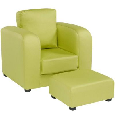 Children's Chair with Footstool - Green
