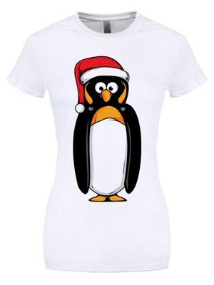 Christmas Penguin White Women's T-shirt