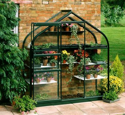 Halls 6x2 Supreme Greenframe Wallgarden Greenhouse + Green Base-frame - Toughened Glass