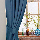 Homescapes Navy Blue Herringbone Chevron Curtains Tie Backs Pair