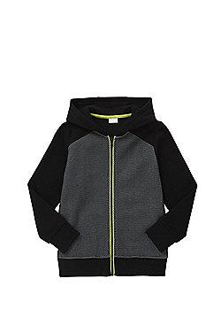 F&F Engineered Mesh Front Zip-Through Hoodie - Black & Grey