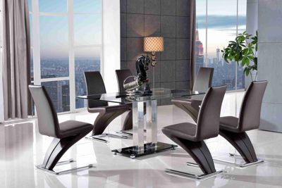 Roma Black Glass and Stainless Steel Frame 150 cm Dining Table with 4 Brown Zed Chairs