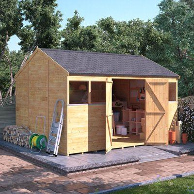 12x10 Tongue and Groove Wooden Workshop Garden Shed Double Door Windowed Reverse Apex Premium Roof Floor Felt 12ftx10ft