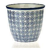 Patterned Plant Pot. Porcelain Indoor / Outdoor Flower Pot - Blue Flower Print Design