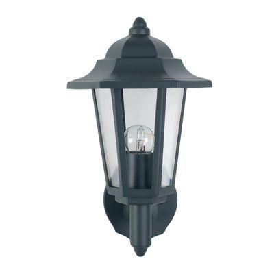 Dark Grey 6 Sided Lantern Outdoor Wall Light Classic Look