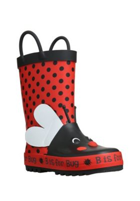 F&F Ladybird Wellies 10 Child Red & Multi