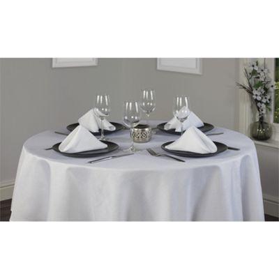 Hamilton McBride Signature Linen Look Round Tablecloth 175x175cm - White