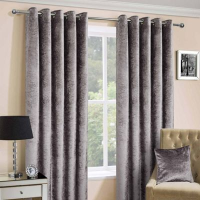Silver Luxury Crushed Velvet Lined Eyelet Curtain Pair, 90 x 90
