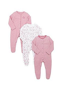 F&F 3 Pack of Sketchy Safar Slepsuits - Pink