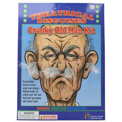 Adult Cranky Old Man Kit Grey Ear & Nose Hair Plugs Fancy Dress Accessory