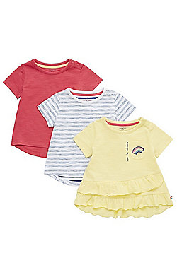 F&F 3 Pack of Rainbow Applique and Striped T-Shirts - Multi