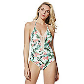 F&F Crochet Insert Tropical Print Halterneck Swimsuit - Multi