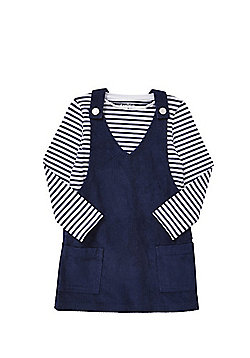 F&F Striped Long Sleeve T-Shirt and Corduroy Pinafore Dress Set - Blue