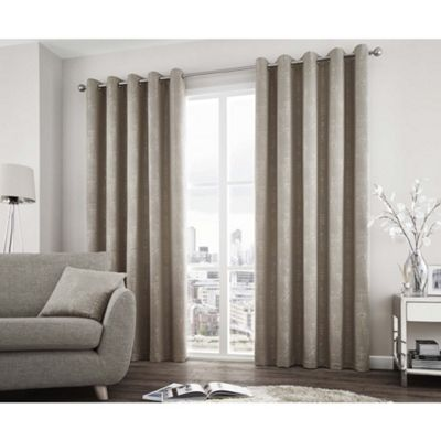 Curtina Solent Stone Eyelet Curtains - 90x90 Inches (229x229cm)