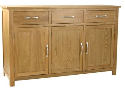 Kelburn Furniture Essentials 3 Drawer Sideboard in Light Oak Stain and Satin Lacquer