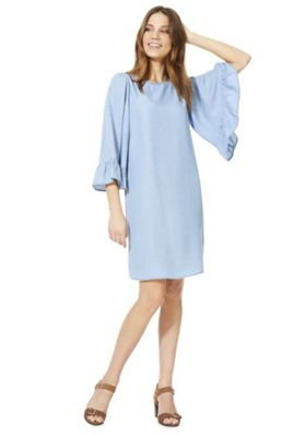 Only Wide Ruffle Sleeve Denim Dress Blue S