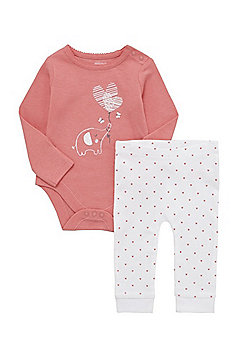 F&F Elephant Print Bodysuit and Leggings Set - Pink & White